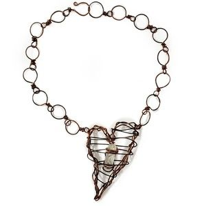 Artisan Rustic Wire-Wrapped Crystal Heart Necklace